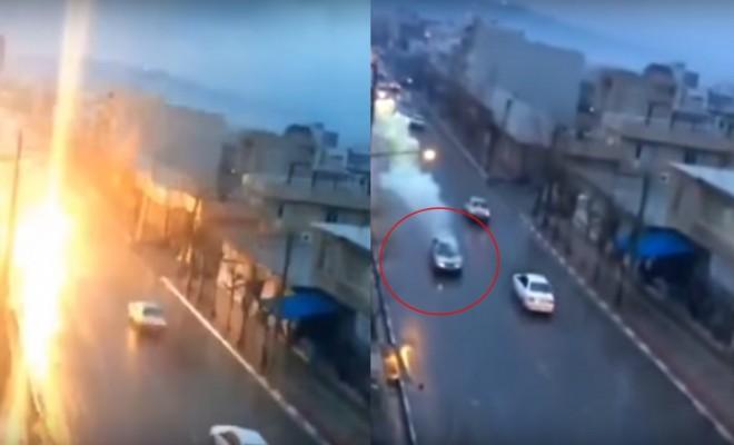 Hareket Halindeki Otomobile Yıldırım Düştü