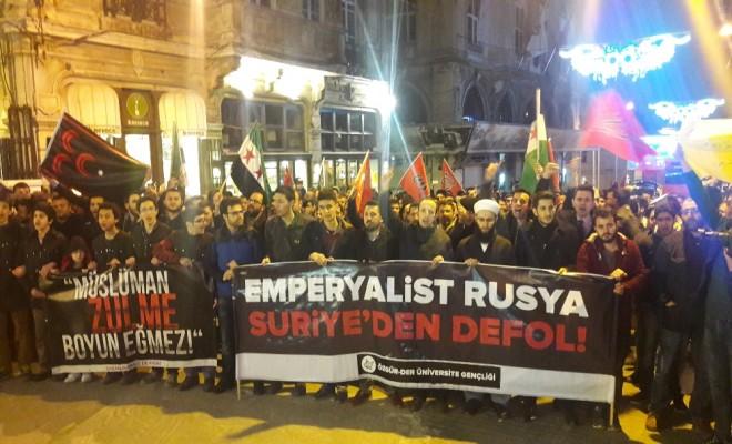 Beyoğlunda İdlib Protestosu