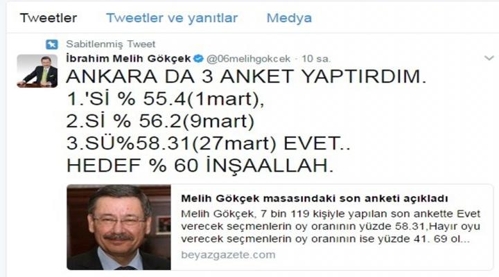 Gökçek Açıkladı: Ankarada Evet Oyları...