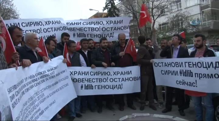"""Rusya Büyükelçiliği Önünde """"İdlib"""" Protestosu"""