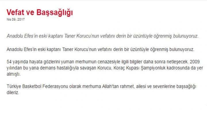 Türk Basketbolunun Acı Günü
