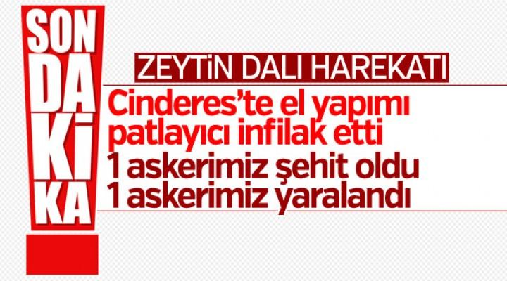 TSK: Zeytin Dalı Harekatı'nda 1 askerimiz şehit oldu