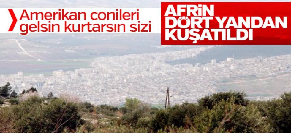 Afrin'in çevresindeki tepeler kuşatıldı
