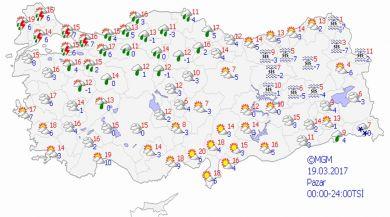 Türkiye'de Yurt Genelinde Hava Durumu 19-03-2017