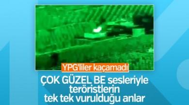 YPG'li teröristlerin vurulma anı