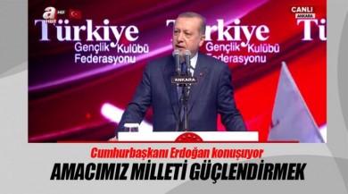 Cumhurbaşkanı Recep Tayyip Erdoğan, Ankara'da TÜGEF'in programında konuşuyor.