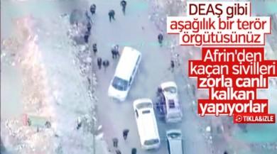 YPG'nin Afrin'den kaçan sivilleri engellemesi kamerada