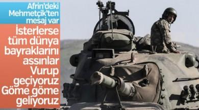 Afrin'deki komutandan mesaj: Vurup geçiyoruz